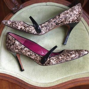 Manolo Blahnik Pony Calf Hair Patent Strap Heels